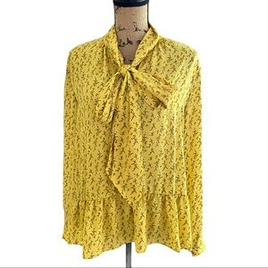 Ann Taylor Loft Yellow Floral Pussybow Blouse L